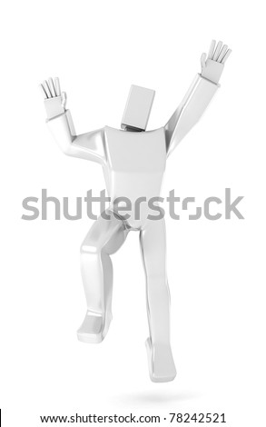 3D Man jumping for joy over a white background - stock photo