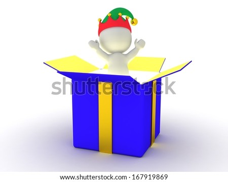 3D Man jumping out of box