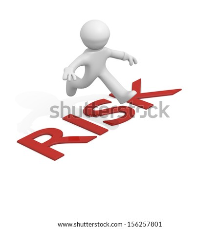 3d man jumping over Risk, business concept