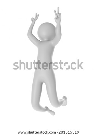 3d man jumping with joy and happiness isolated on white background - stock photo