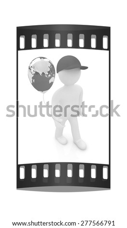3d man keeps balloon of earth. Global holiday on a white background. The film strip - stock photo