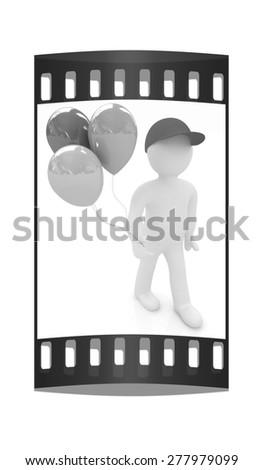 3d man keeps balloons. The film strip - stock photo
