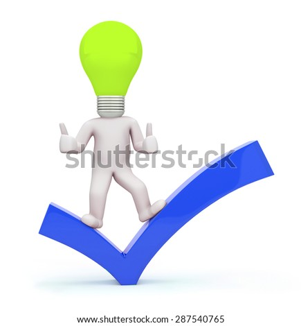 3d man lamp with check mark - stock photo