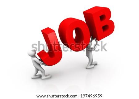 3d man, leader lifting  the word job - stock photo