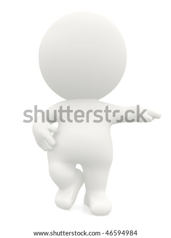 3d man leaning on an imaginary object isolated over a white background