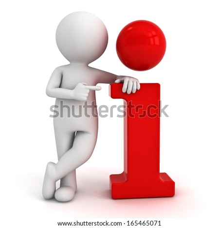 3d man leaning on red information icon and pointing finger at it isolated over white background - stock photo