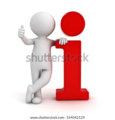3d man leaning on red information icon and showing thumbs up hand gesture isolated over white background - stock photo