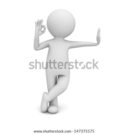 3d man leaning on something and showing okay gesture isolated over white background