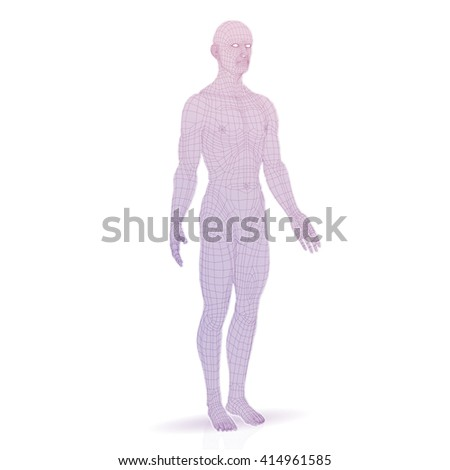 3d man. line graphics. white background