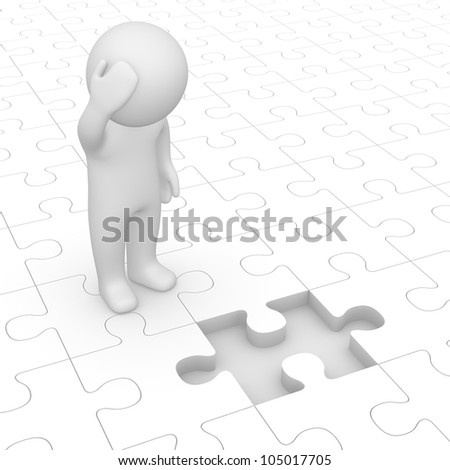 3d man looking at missing piece of puzzle - stock photo