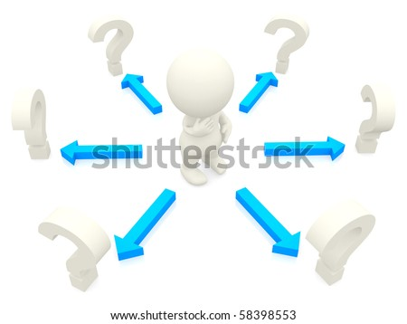3D man looking at question marks to make a decision isolated over white - stock photo