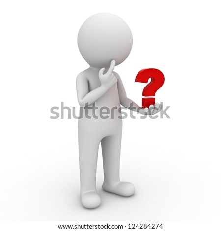 3d man looking at red question mark in his hand and thinking over white background