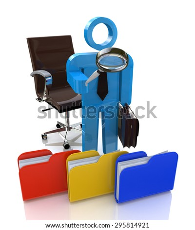 3d man looking for the document to a file folder  - stock photo