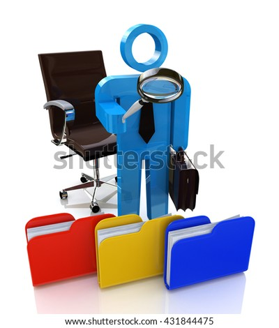 3d man looking for the document to a file folder in the design of the information related to the search. 3d illustration - stock photo