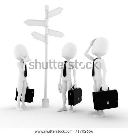 3d man looking for the right path to success - stock photo