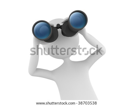 3D man looking through binoculars and searching - stock photo
