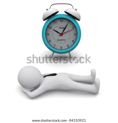 3D man lying on the floor next to big clock - stock photo