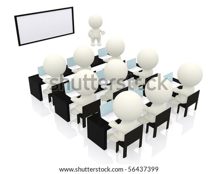 3D man making a business presentation - isolated over a white background