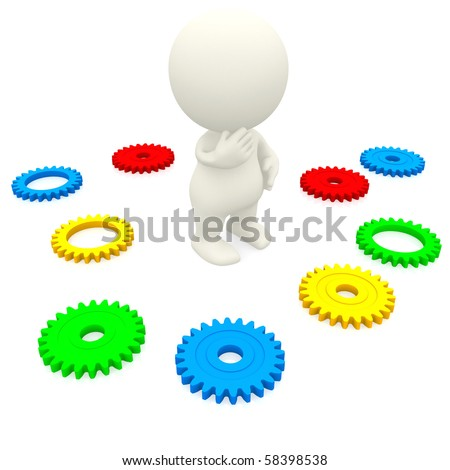 3D man making a decision with colourful gears on the floor - isolated over white - stock photo