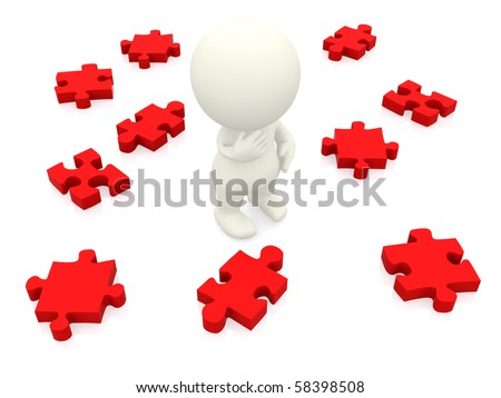 3D man making a decision with puzzle pieces isolated over white - stock photo