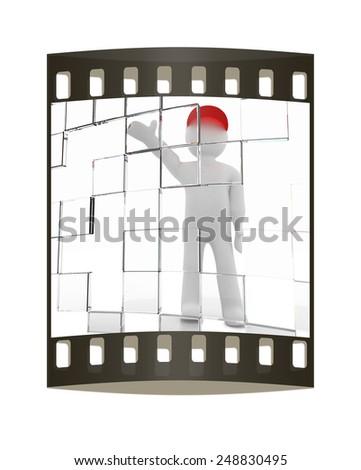 3d man making choice, on white background. The film strip  - stock photo