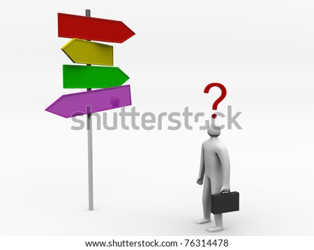 3D man making choice standing near sign post - render illustration - stock photo