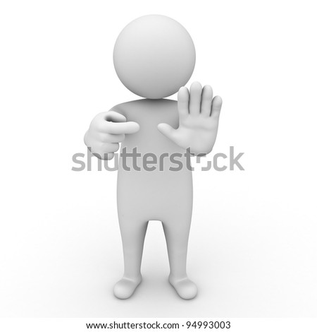 3d man making stop or no sign on white background - stock photo