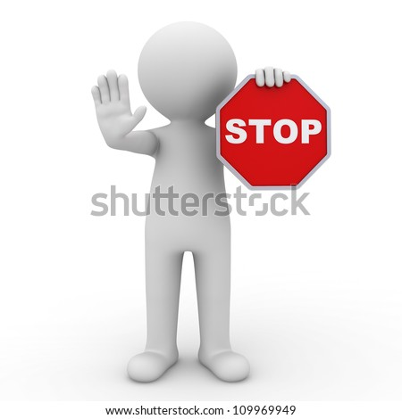 3d man making stop sign on white background - stock photo