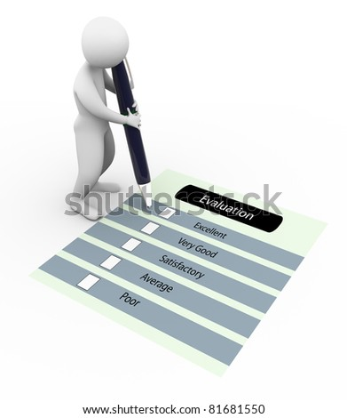 3d man marking on the evaluation questionnaire - stock photo
