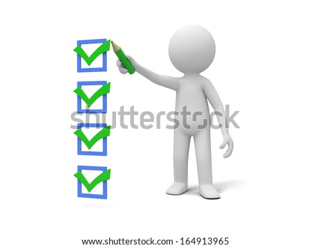3d man marking ticks in the checklist  with a pencil - stock photo