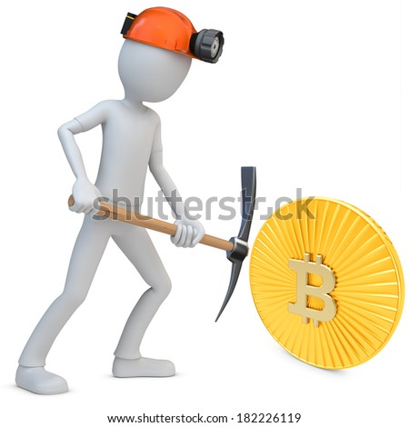 3d man miner mining golden Bitcoin coin on white background - stock photo