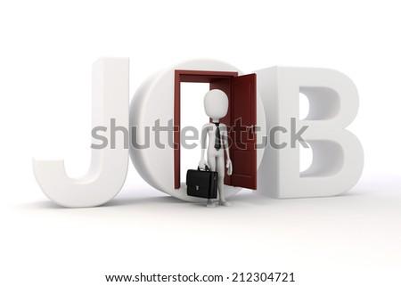3d man new job opportunity, economy concept - stock photo