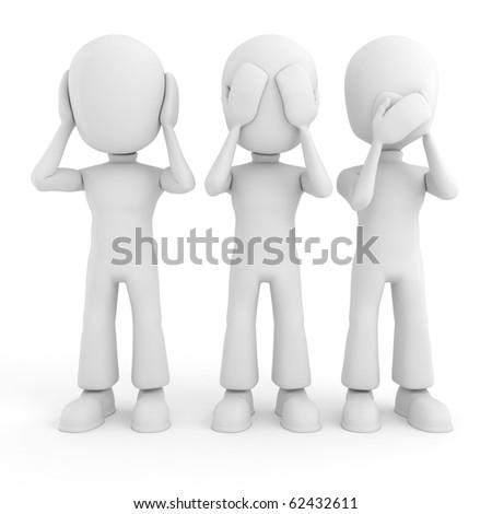 3d man No see, talk or hear - stock photo
