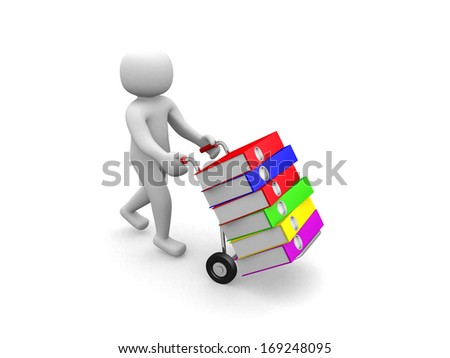 3D man -nworker pushing a hand truck with files - 3d render - stock photo