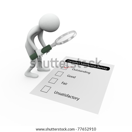 3d man observing customer satisfaction survey with magnifier - stock photo