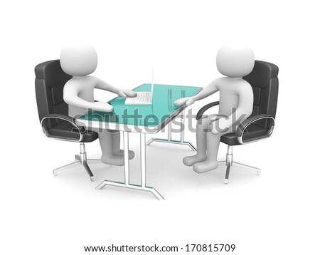 3d man - office consultation. Isolated over white background. 3d render illustration - stock photo