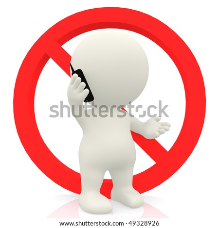 3D man on a No mobile phones sign isolated over white - stock photo
