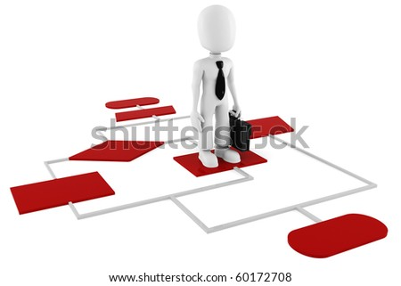 3d man on a red diagram chart - stock photo