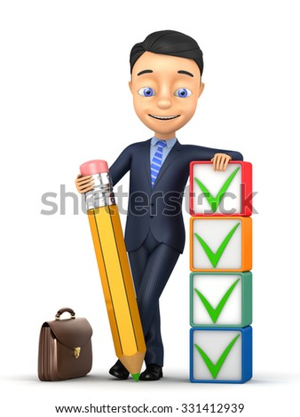 3d man on a white background with pencil and ticks - stock photo