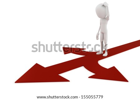 3d man on red arrow showing three directions  - stock photo