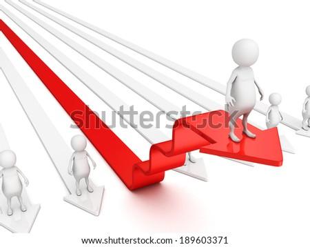 3d man on red success arrow steps. business achivement concept 3d render illustration - stock photo