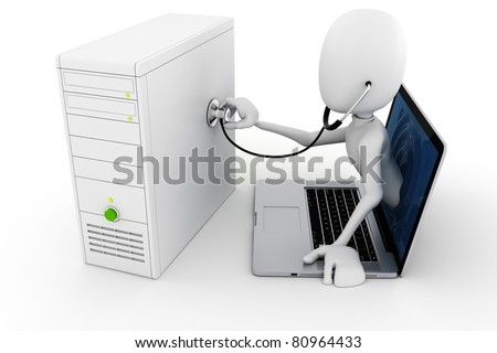3d man online support and maintenance, isolated on white background - stock photo