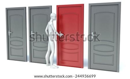 3d man opens a red door - stock photo