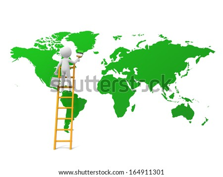 3d man, people, person with ladder and earth map - stock photo