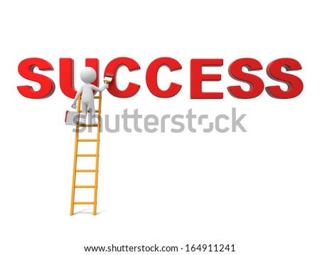 3d man, people, person with ladder and word �SUCCESS� - stock photo