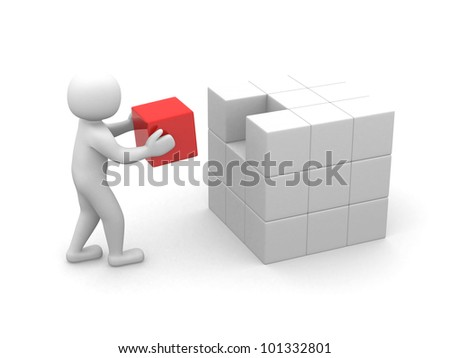 3d man - people with cubes . 3d render - stock photo