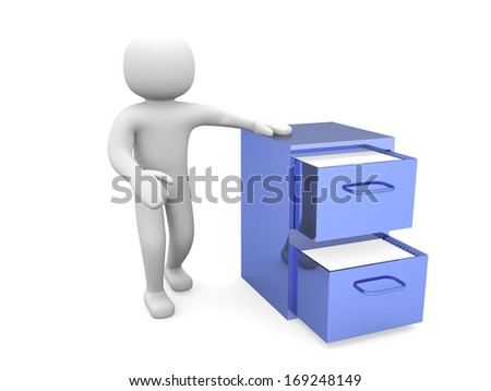 3d man - person and open drawer with folders - stock photo