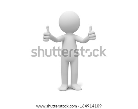 3d man, person, human standing showing thumb up - stock photo
