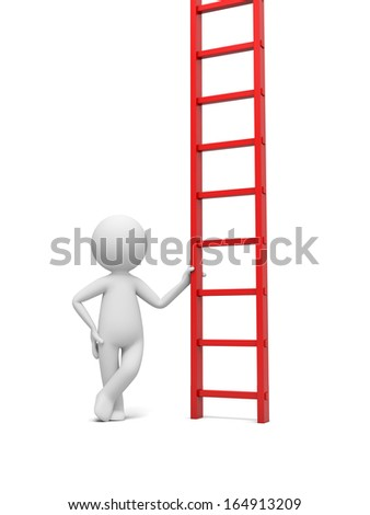 3d man, person, people standing with hand on ladder