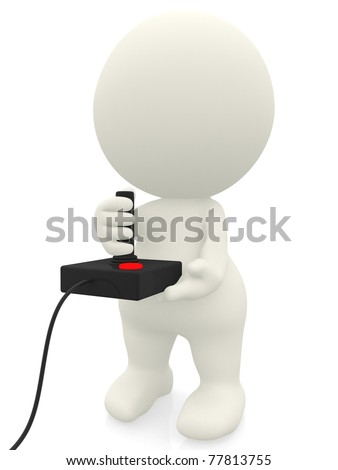 3D man playing video games with a joystick - isolated over white - stock photo